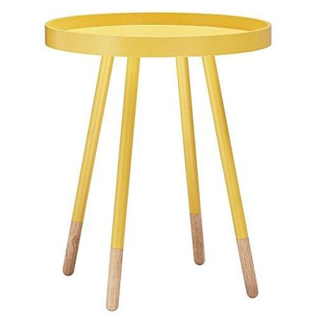 ModHaus Living Mid Century Modern Danish Style Yellow Round Wooden Tray Top Accent Side Table with Dowel Metal Legs - Includes Pen ()
