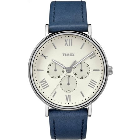 Unisex Southview 41 Multifunction White/Silver-Tone Watch, Blue Leather Strap