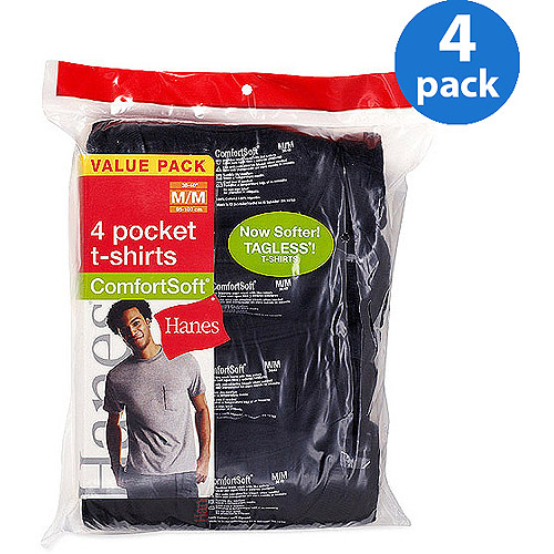 Hanes - Big Men's 4-Pack ComfortSoft Pocket Tees, Size 2XL