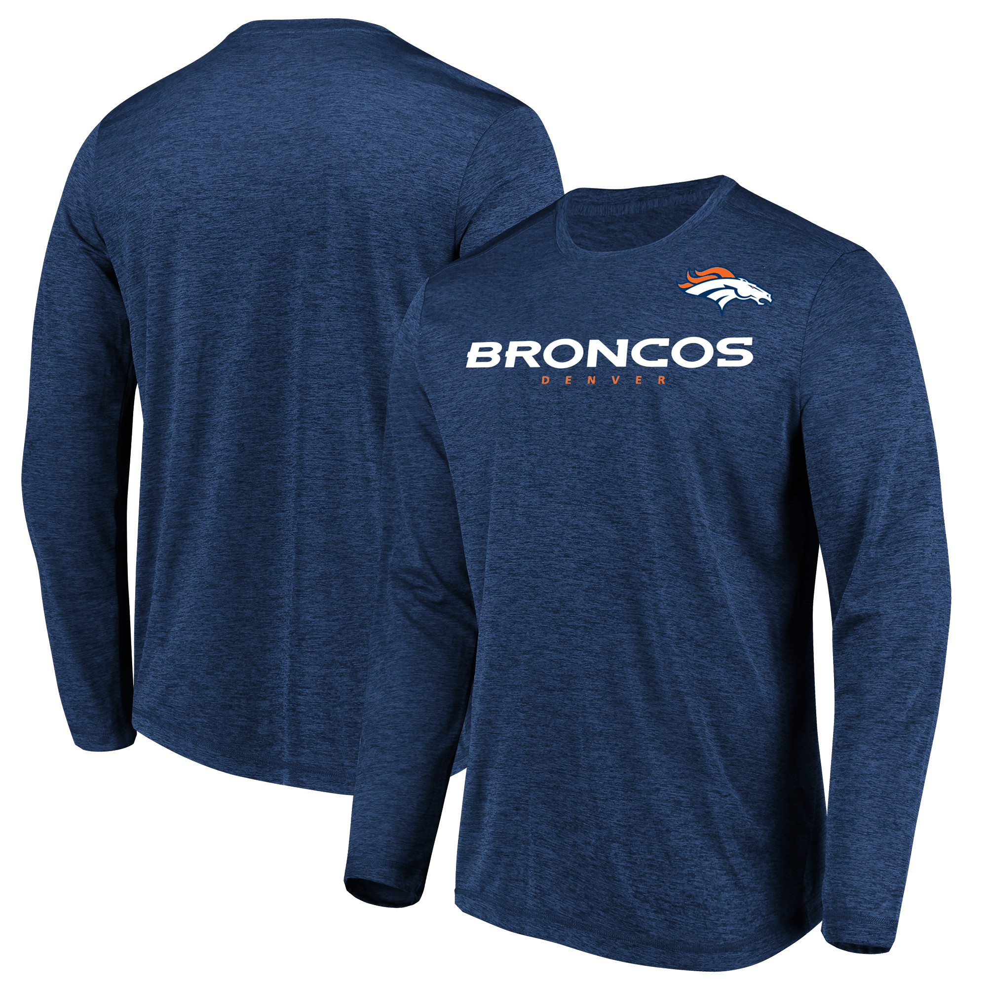 Denver Broncos Majestic Touchback Long Sleeve T-Shirt - Heathered Navy