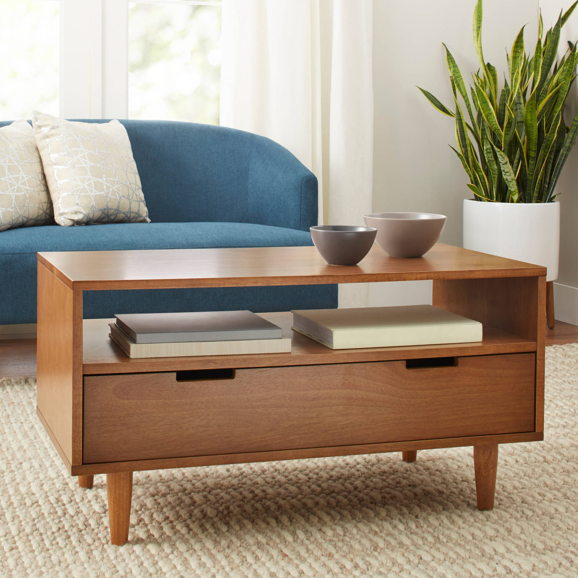 Mid Century Style Coffee Table Solid Wood Legs Storage Shelf Living