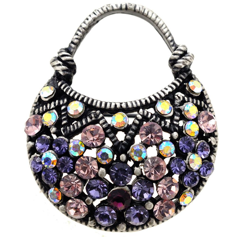 Amethyst Lady Handbag Swarovski Crystal Vintage Style Brooch Pin by