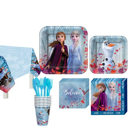 Party City Frozen 2 Basic Tableware Supplies for 8 Guests, Includes Napkins, Plates, Cover, and