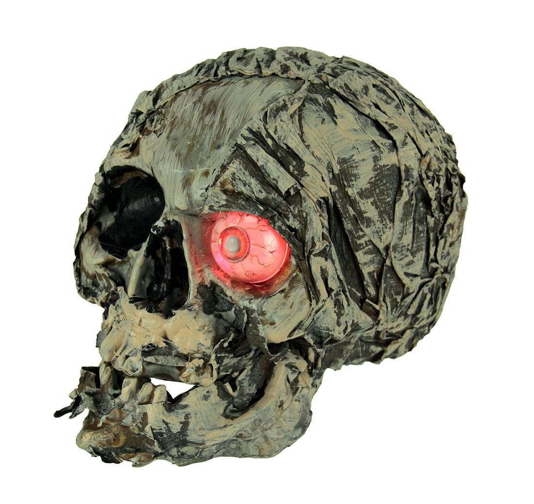 LED Glowing Eye Mummy Skull Decorative Tabletop Figurine