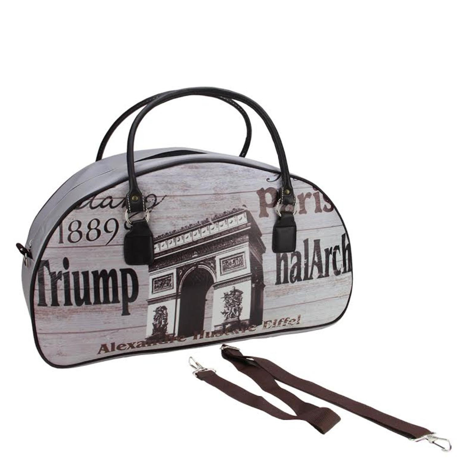 "20"" Vintage-Style Paris Arc de Triomphe French Theme Travel Bag with Handles and Shoulder Strap by Northlight"