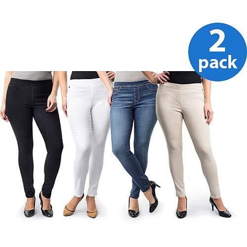 Jordache Women's Plus-Size Pull-On Jegging 2 Pack Value Bundle