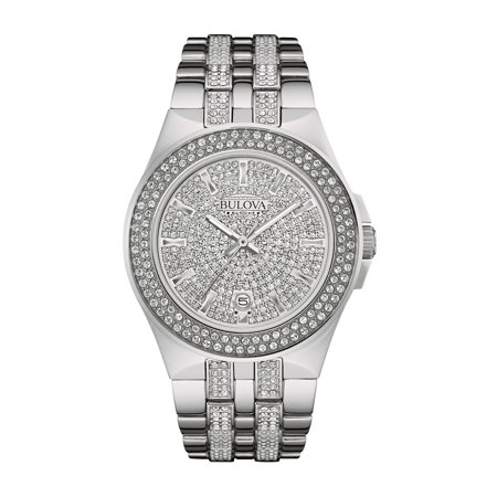 Bulova Titanium Mens Bracelets (Bulova Men's Swarovski Crystal Stainless Steel Watch)