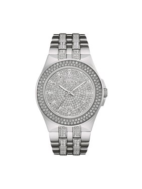 Bulova Men's Swarovski Crystal Stainless Steel Watch 96B235