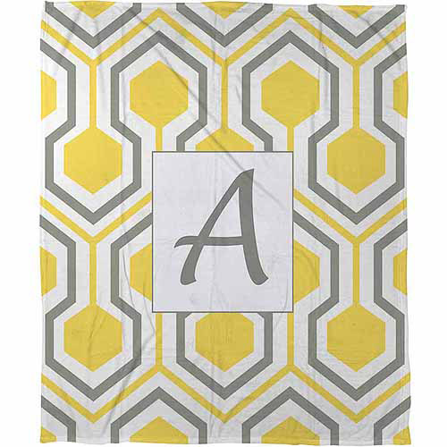 Thumbprintz Honeycomb Monogram Fleece Throw, Yellow