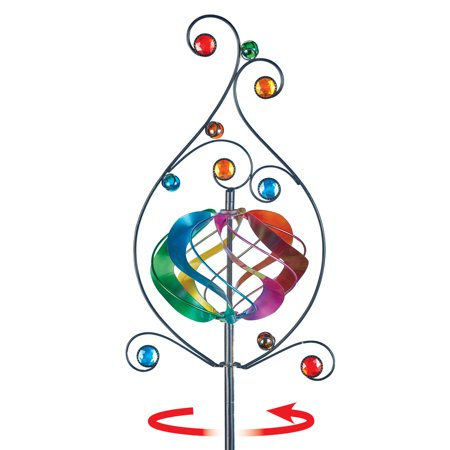 - Colorful Rainbow Garden Scrolling Metal Spinner Yard Stake - Seasonal Outdoor Decoration