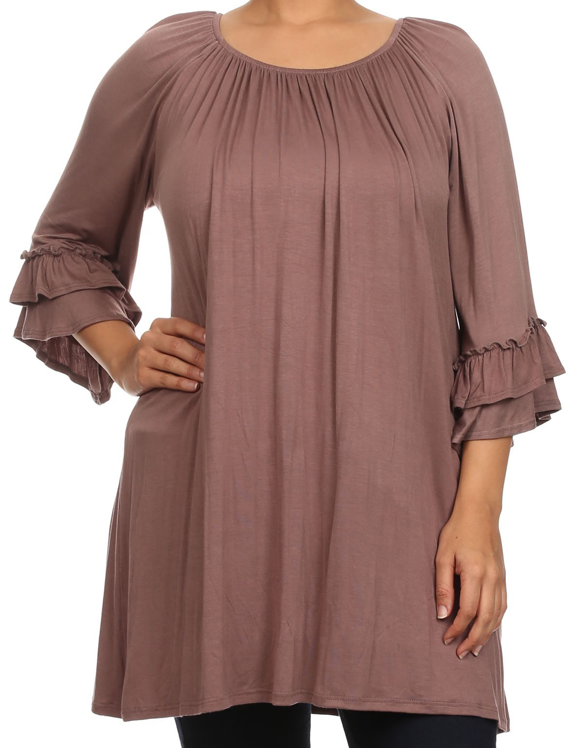 Women Plus Size Half Sleeve Solid Off Shoulder Casual Tunic Top Dress Mocha XL (B608 SD) BNY Corner