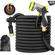 """InGarden Expandable Garden Hose - Lightweight Kink Free Flexible Water Hose, Double Latex Core, 3/4"""" Solid Brass Rust-Proof Fittings, Strong Fabric, Nozzle, 50FT Black"""