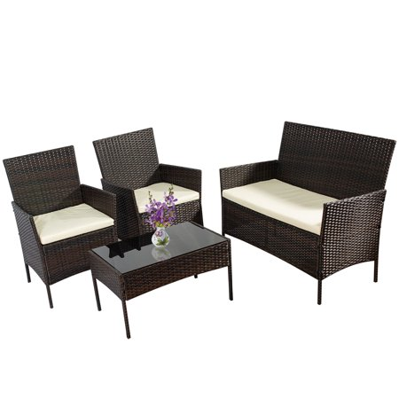 Outdoor Patio Furniture Set Wicker Rattan Chairs and Table Sofa Conversation Sets