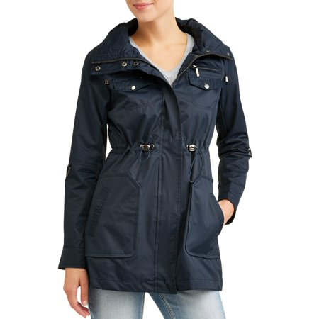 Yoki Women's Anorak Water Resistant Trench Jacket With Cinch Waist Adjuster And Removeable Hood for $<!---->