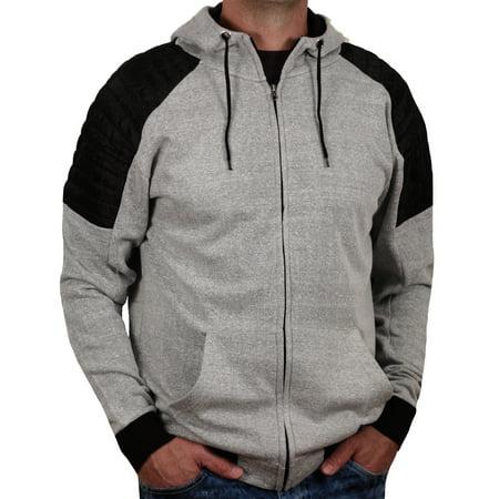 Fleece High Zip-Neck Hoodie with Quilted Panel from Alpha Beta