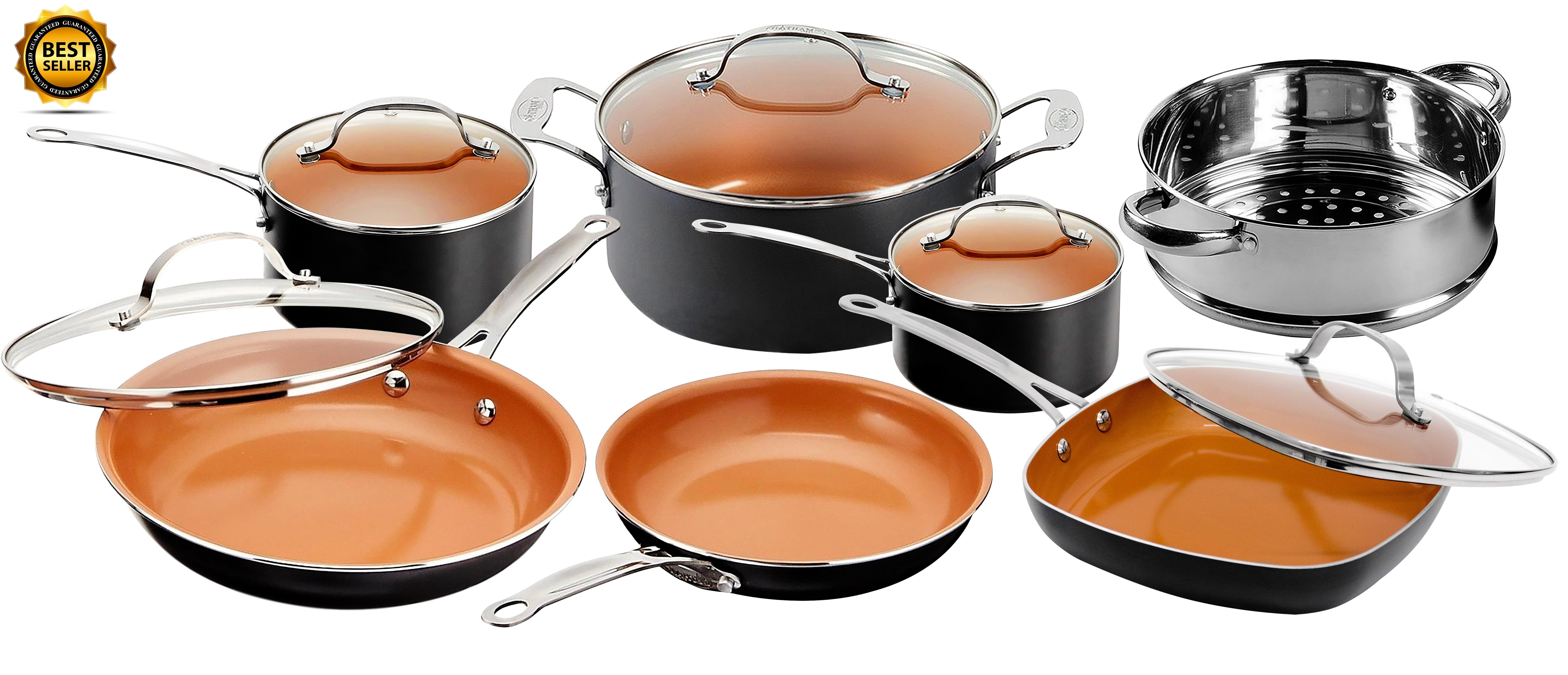 Gotham Steel Nonstick Black Frying Pan & Cookware Set, 12 Piece