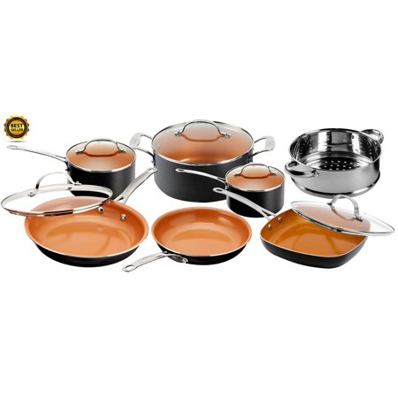 Gotham Steel Nonstick Black Frying Pan & Cookware Set, 12 Piece
