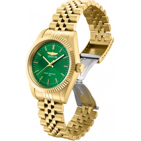 Invicta Women Specialty Quartz Green Dial Gold Tone Stainless Steel Watch (Invicta Womens Silver Dial)