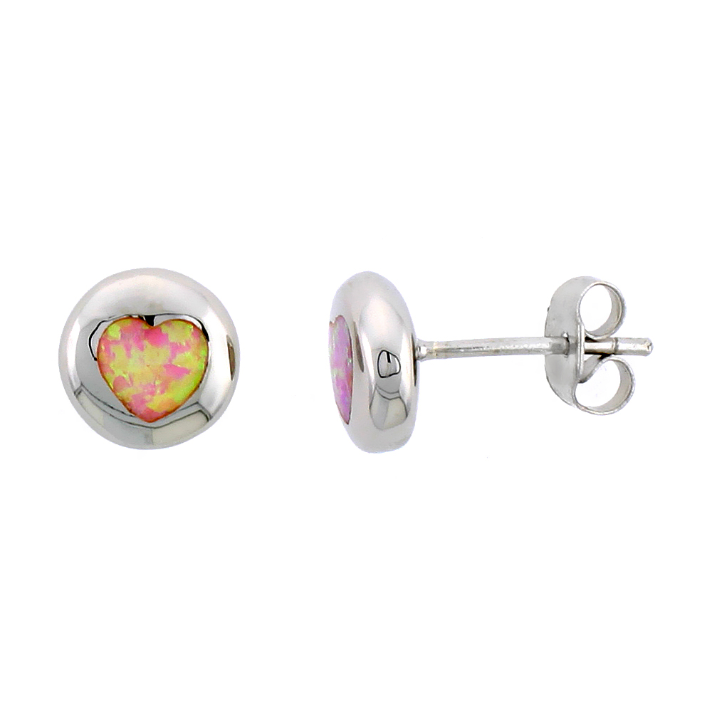 Sterling Silver Synthetic Pink Opal Heart Inlay Flat ball Studs, 3 8 inch Diameter by WorldJewels