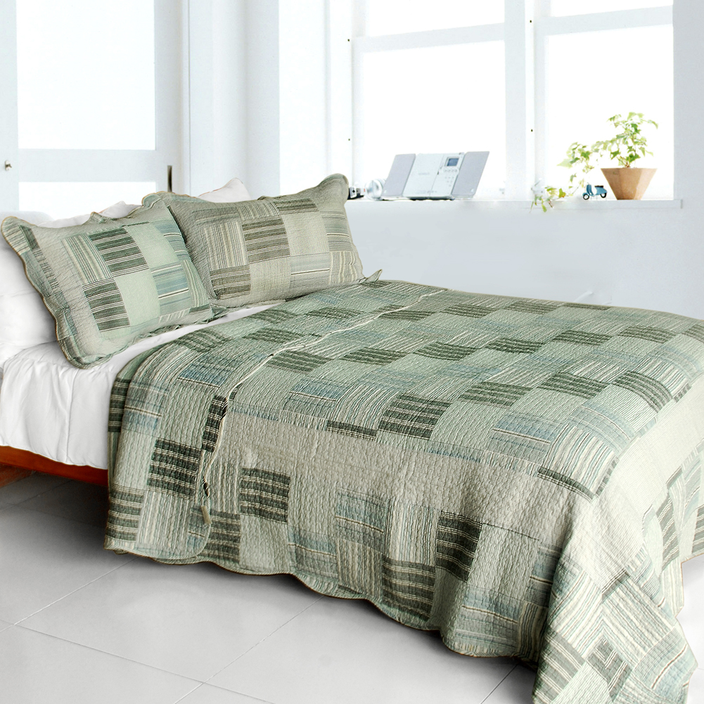 Plaided World 3pc Vermicelli Quilted Plaid Patchwork Quilt