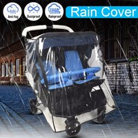 Stroller Rain Cover Foldable Clear For Twin Baby Stroller Pushchair Dust Wind Shield Outdoor Travel Hiking