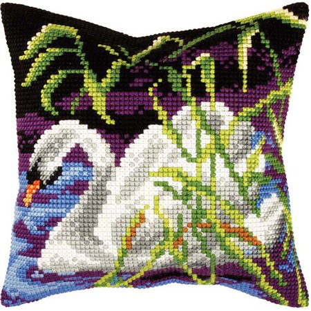 Orchidea Swan Pillow Cover Needlepoint - Swan Needlepoint