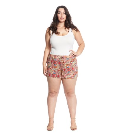 e62c8aa4249 Women s Plus Size Bohemian Summer Beach Lounge Printed Shorts with Elastic  Band and Drawstring