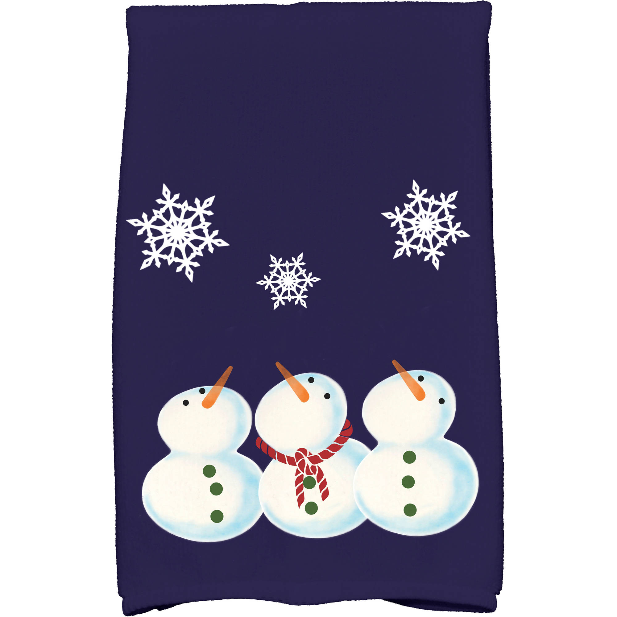 "Simply Daisy 16"" x 25"" 3 Wise Snowmen Holiday Geometric Print Kitchen Towel"