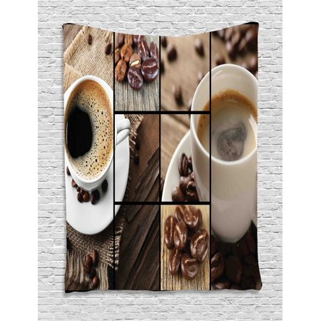 Brown Tapestry, Coffee Themed Collage Close Up Mugs Beans on Wooden Table Aromatic Roasted Espresso Drink, Wall Hanging for Bedroom Living Room Dorm Decor, 40W X 60L Inches, Brown, by - Halloween Themed Espresso Drinks