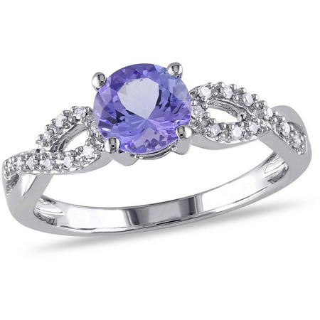 Tangelo 1 Carat T.G.W. Tanzanite and Diamond-Accent 10kt White Gold Infinity Engagement Ring