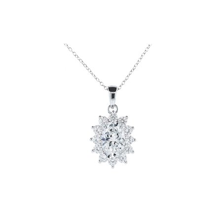 Sage 18k White Gold Halo Pendant Necklace, Simulated Diamond Necklace, CZ Necklace, Best Silver Necklaces for Women, Girls, Oval Necklace, Bridal Necklace MSRP