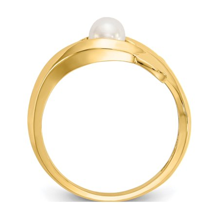14k Yellow Gold Polished Dolphin w/FW Cultured Pearl Ring - image 2 of 5