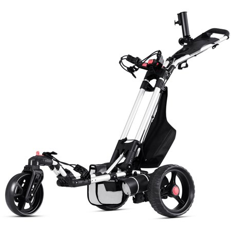 Costway Foldable Electric Golf Push Cart With Umbrella Holder Lithium Battery