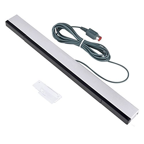 Wired Infrared IR Ray Motion Sensor Bar for Nintendo Wii and Wii U Console (Silver/Black)