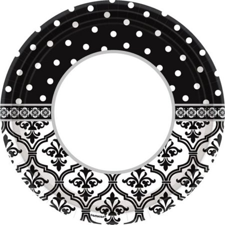 Engagement Party 'Damask and Dots' Large Paper Plates (18ct)