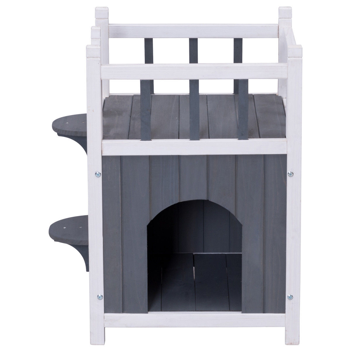 Gymax Wooden Cat Pet Home with Balcony Pet House Small Dog Indoor Outdoor Shelter - image 7 de 9