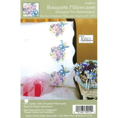 "Tobin Bouquets Stamped Pillowcase Pair, 20"" x 30"""