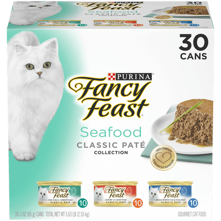 (30 Pack) Fancy Feast Grain Free Pate Wet Cat Food Variety Pack, Seafood Classic Pate Collection, 3 oz.