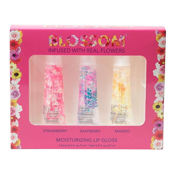 Blossom 3 Piece Gift Set - Moisturizing Lip Gloss (Strawberry, Raspberry, Mango)