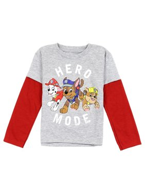 Paw Patrol Little Boys' Toddler Mock Layer Long Sleeve Tee