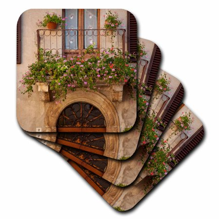 - 3dRose Flowers on home in Piezna, Tuscany, Italy., Ceramic Tile Coasters, set of 4
