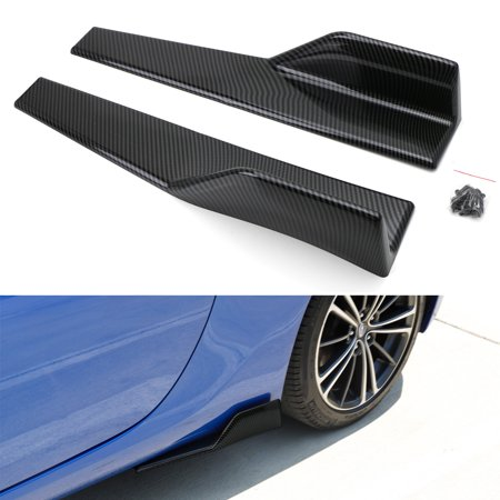 Rear Skirt Lip Diffuser (iJDMTOY Left/Right Black Carbon Fiber PP Universal Rear Side Skirt Winglets Diffusers For Car )