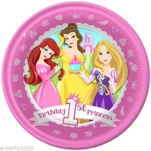 Disney Princess 1st Birthday Large Paper Plates (8ct)