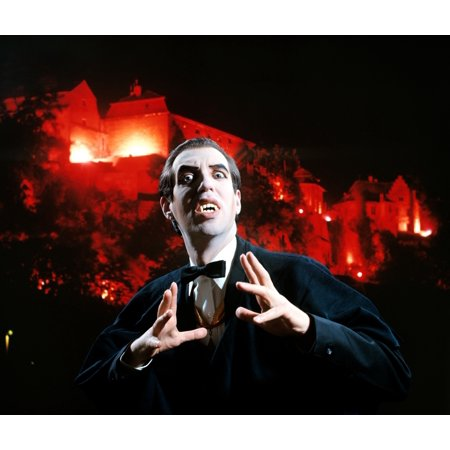 Man In Vampire Makeup And Costume Gesturing Menacingly Castle Background Looking At Camera Stretched Canvas - Vintage Images () (Vampire Makeup Look)