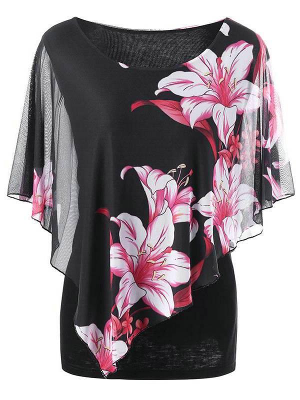 AKFashion Women's Plus Size Elbow-Length Sleeve Round Neck See Through Irregular Floral Printing Blouse Shirts Tops