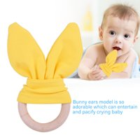 FAGINEY Baby Infant Natural Wooden Teether Bunny Teething Ring Adorable Rabbit Ears Toy, Bunny Teether,Baby Teether