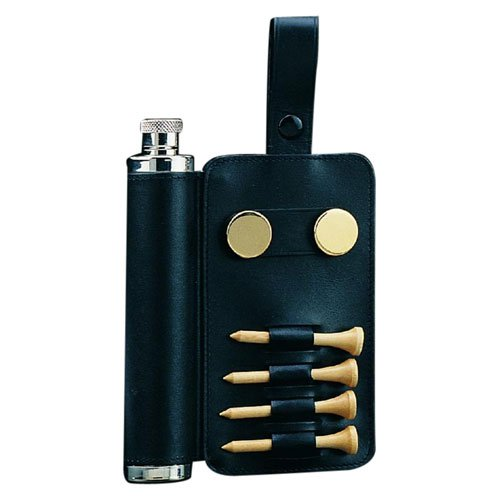 Stainless Steel/Black Leather Flask with Golf Accessories