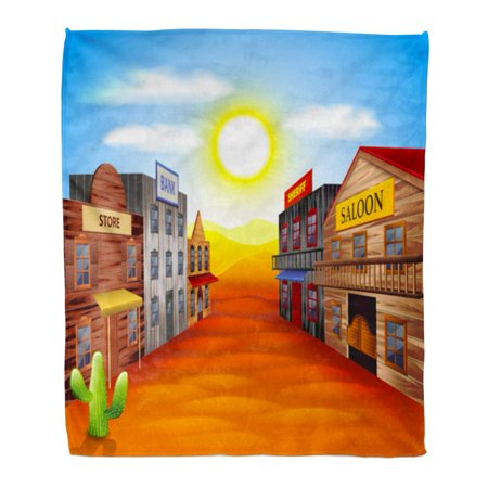 ASHLEIGH Flannel Throw Blanket Ghost Western Wild West Town Realistic Cartoon Scene Old Soft for Bed Sofa and Couch 50x60 Inches (Old West Scenes)