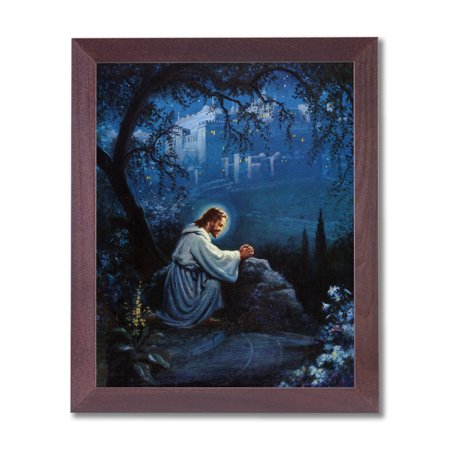 - Jesus Christ Praying At Gethsemane Religious Wall Picture Cherry Framed Art Print