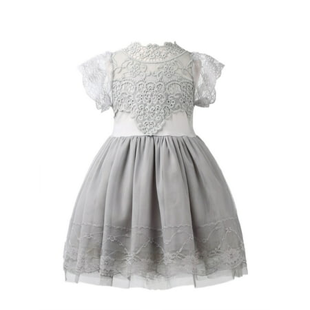 StylesILove Victorian Lace Princess Flower Girl Dress (1-2 Years, Grey)